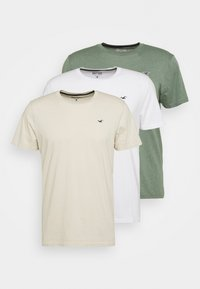 Hollister Co. - SOLID EXCLUSIVE 3 PACK - T-shirt basic - white/beige/olive - 5