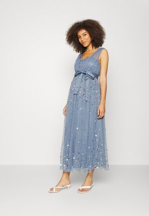 GATHERED DRESS WITH SCATTER SEQUINS AND TIE BELT - Maxi dress - storm blue