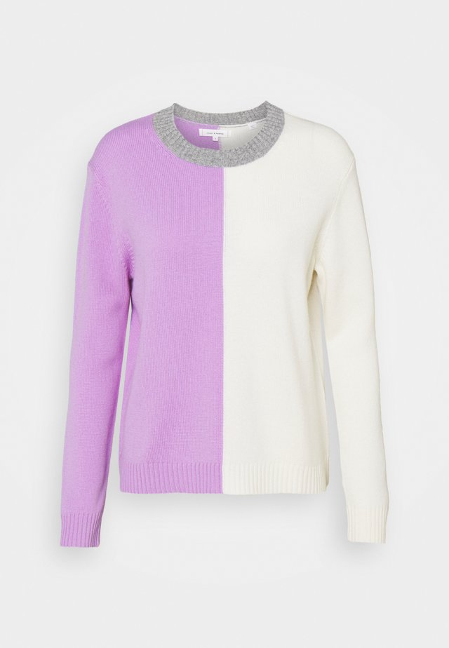 CONTRAST HALF AND HALF SWEATER - Strikpullover /Striktrøjer - lilac/cream/grey