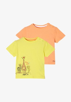 2ER PACK - Print T-shirt - yellow/apricot