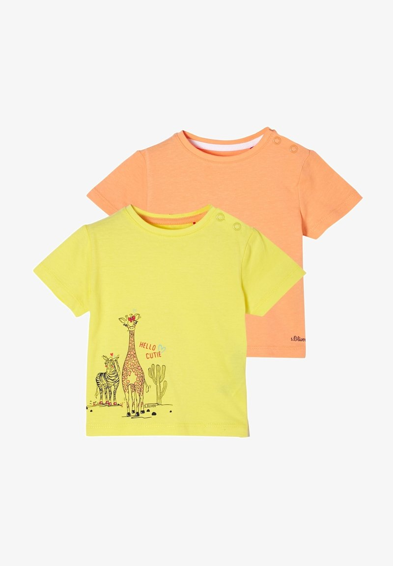 s.Oliver - 2ER PACK - Print T-shirt - yellow/apricot