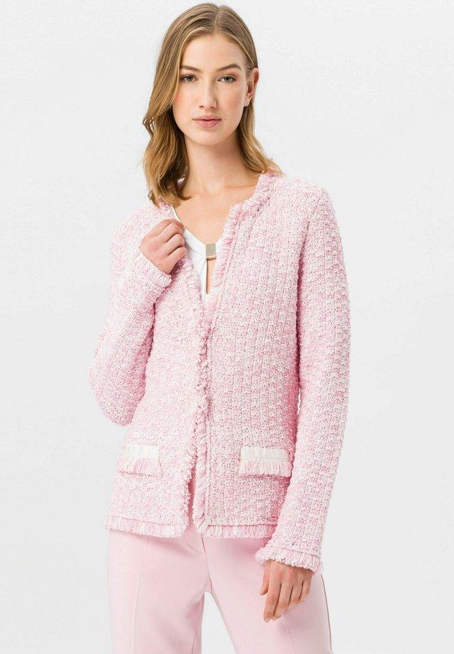 Strickjacke - rosa/weiß