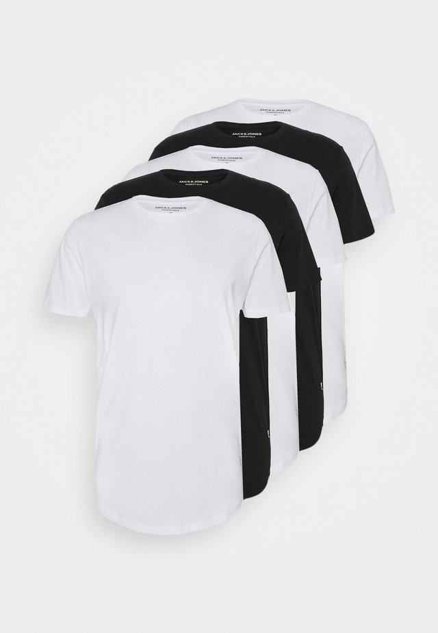 JJENOA TEE CREW NECK 5 PACK - T-Shirt basic - white/black