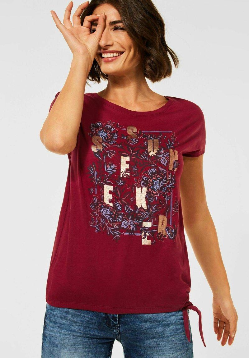 Cecil - MIT SCHLEIFEN DETAIL - Print T-shirt - braun