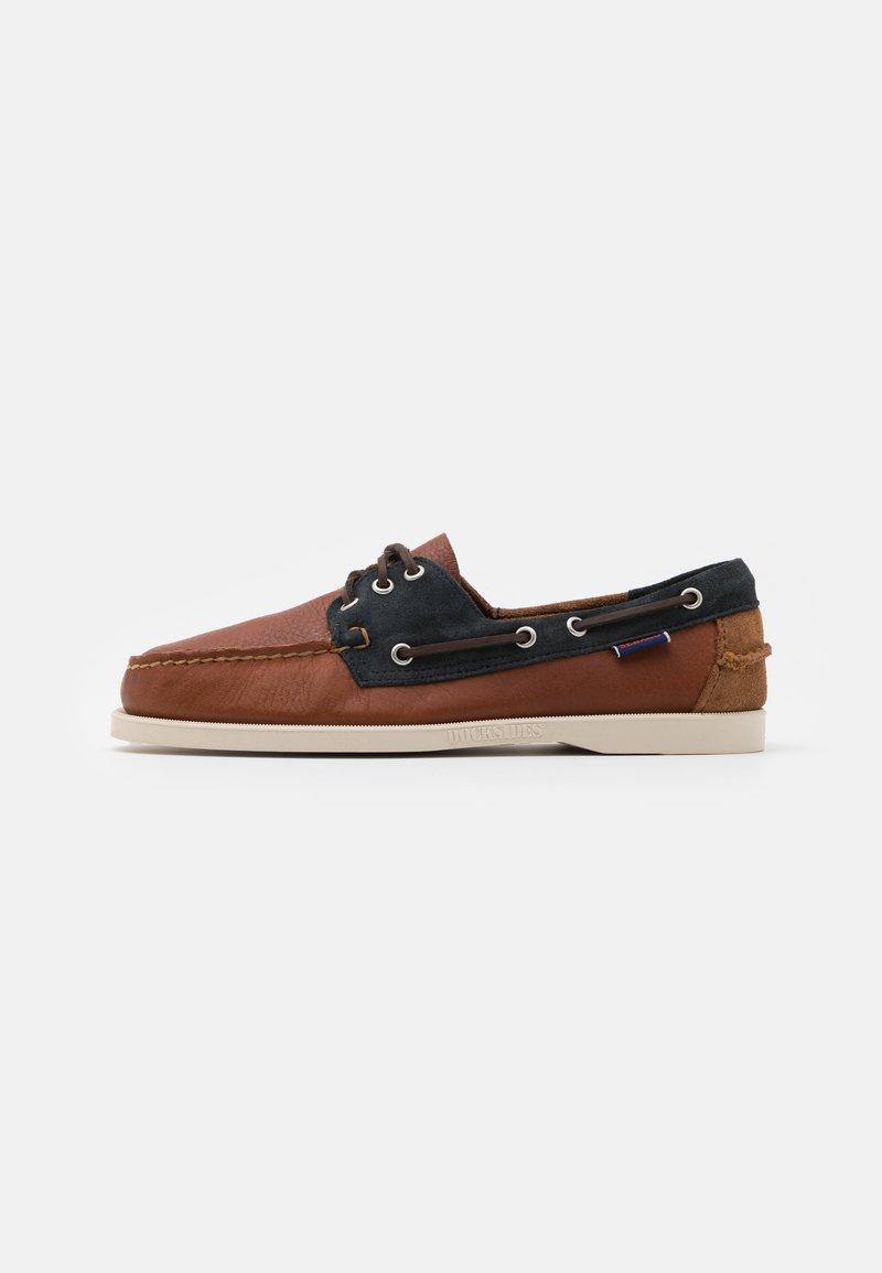 Sebago - PORTLAND THREE EYES  - Boat shoes - blue navy/cognac dark brown