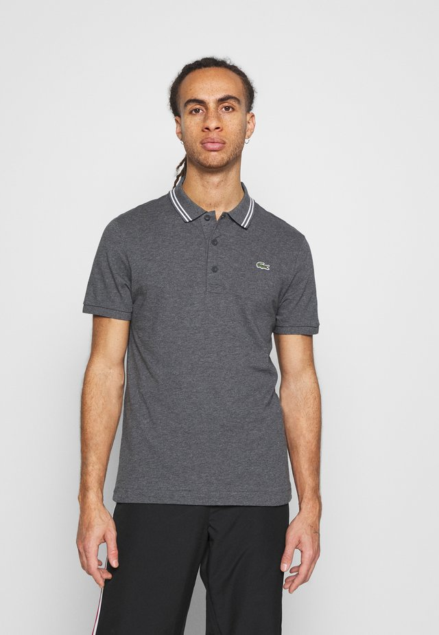 DETAILED COLLAR - Polo - gris chine/blanc