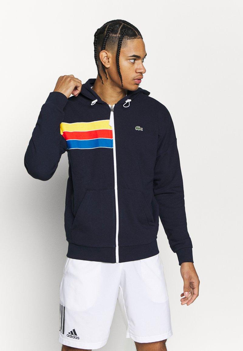 Lacoste Sport - RAINBOW JACKET - Zip-up hoodie - navy blue/wasp/gladiolus/utramarine/white