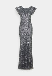 Maya Deluxe - FLUTTER SLEEVE ALL OVER SEQUIN MAXI DRESS WITH DIP BACK - Suknia balowa - charcoal - 0