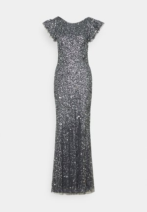 FLUTTER SLEEVE ALL OVER SEQUIN MAXI DRESS WITH DIP BACK - Galajurk - charcoal