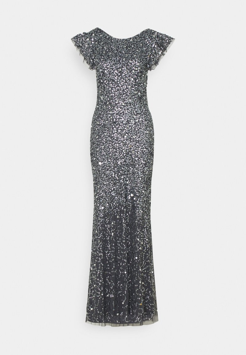 Maya Deluxe - FLUTTER SLEEVE ALL OVER SEQUIN MAXI DRESS WITH DIP BACK - Společenské šaty - charcoal