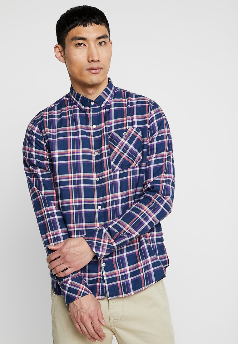 Knowledge Cotton Apparel - CHECKED BUTTON DOWN - Shirt - dark denim