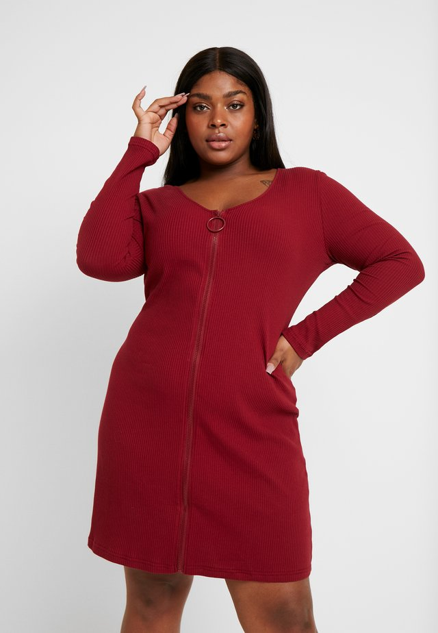 ZIP THROUGH LONG SLEEVE DRESS - Day dress - burgundy