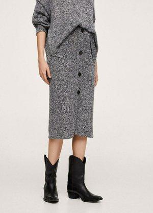 MIT KNÖPFEN - A-line skirt - mottled grey