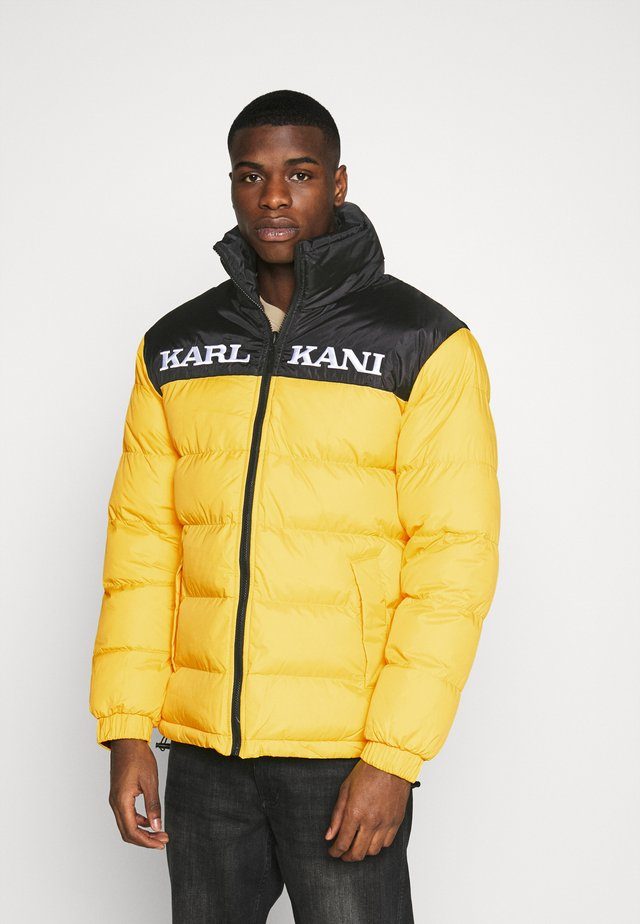 RETRO BLOCK REVERSIBLE PUFFER JACKET - Giacca invernale - black/yellow