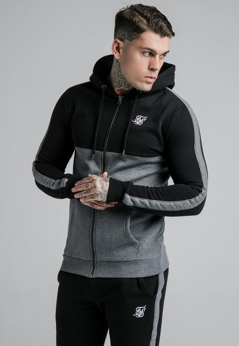 SIKSILK - CUT AND SEW ZIPTHROUGH HOODIE - Zip-up hoodie - black/grey marl