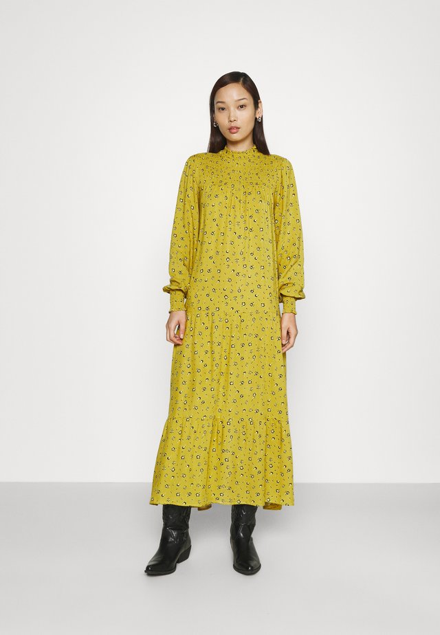 SMOCKED HIGH NECK MAI DRESSES WITH LONG SLEEVES - Maxi-jurk - yellow
