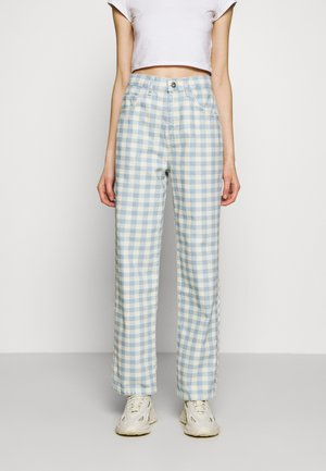 GINGHAM - Straight leg jeans - cream/blue