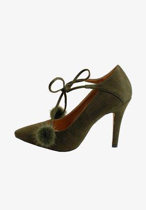 Zapatos de salón con cordones - caqui