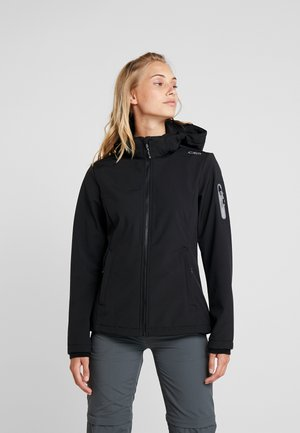 WOMAN JACKET ZIP HOOD - Kurtka Softshell - nero