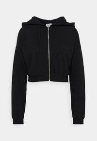 NA-KD - ZIP DETAIL HOODIE - Zip-up hoodie - black - 0