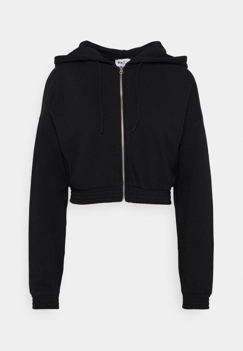 NA-KD - ZIP DETAIL HOODIE - Zip-up hoodie - black