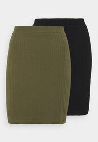Even&Odd - 2 PACK - Mini skirt - black/khaki - 6
