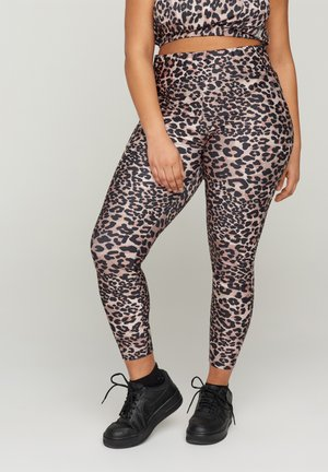 MIT LEOPARDENPRINT - Leggings - beige