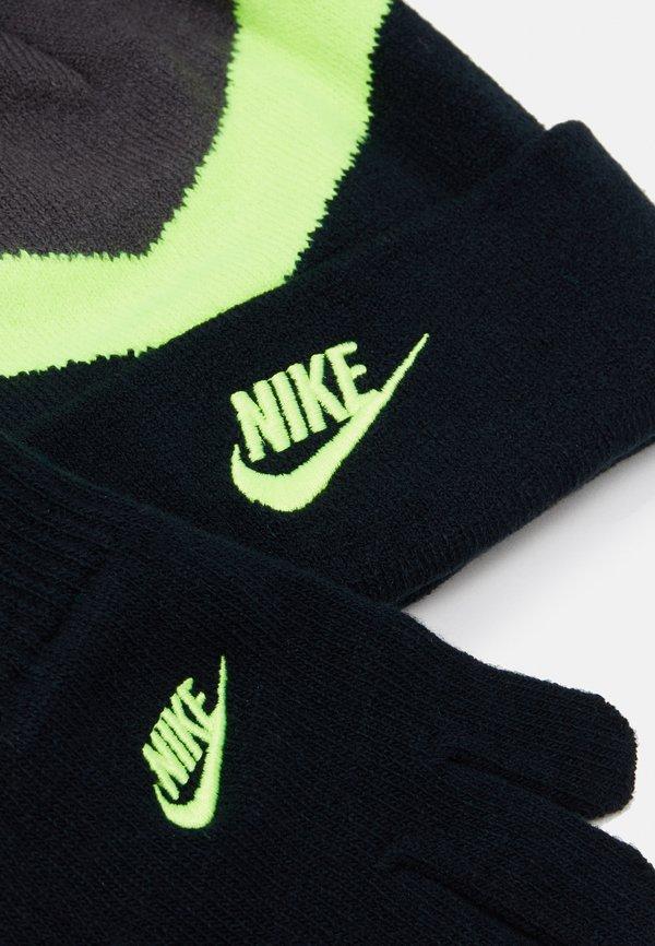 Nike Sportswear BLOCKED BEANIE GLOVE SET - Czapka - volt Akcesoria UICSBB5