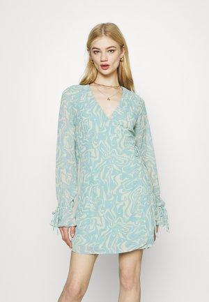 TIE STRAP OVERLAP MINI DRESS - Day dress - slate blue