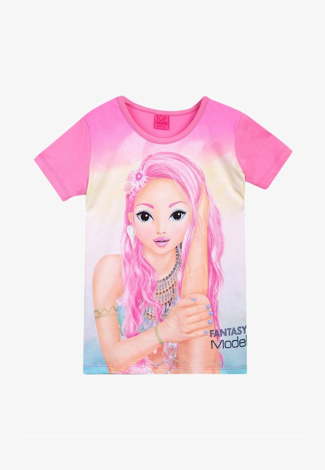 Print T-shirt - fuchsia pink