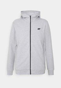 4F - Men's hoodie - Zip-up hoodie - grey - 0
