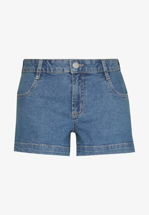MID RISE CLASSIC STRETCH - Denim shorts - blue