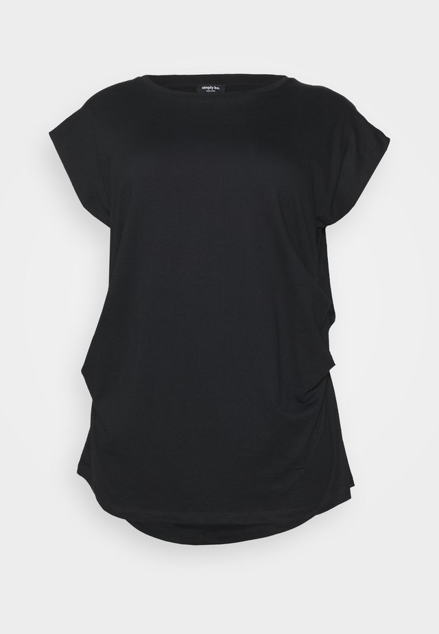 DRAPED  - T-shirt imprimé - black