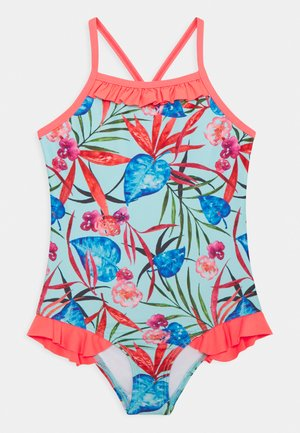 GIRLS TROPICAL PRINT SWIMSUIT - Badpak - blue/coral