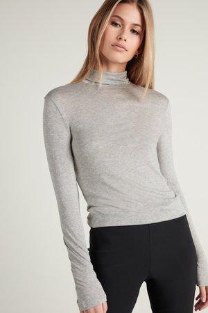 HOCH GESCHNITTENES - Long sleeved top - grigio melange