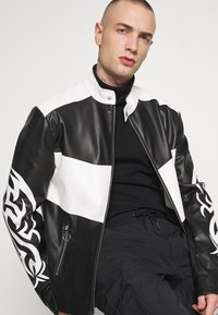 Jaded London - TRIBAL MOTORCROSS VEGAN JACKET - Faux leather jacket - black/white - 3