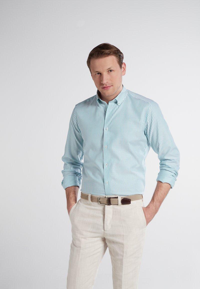 Eterna - SLIM FIT - Shirt - türkis/weiss