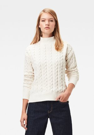 CABLE MOCK LONG SLEEVE - Jumper - milk