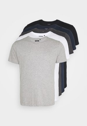 HARRIS 5 PACK - T-paita - black/white/lt grey marl/navy/dk charcoal marl
