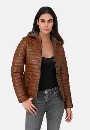 POWER - Leather jacket - cognac color