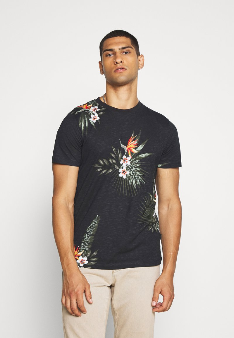 Jack & Jones PREMIUM - JPRHOLIDAY TEE CREW NECK - T-shirt print - black