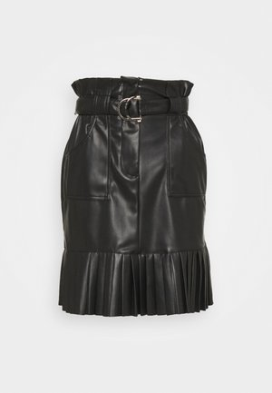 VITALINA COATED PLISSE SKIRT - A-line skirt - black
