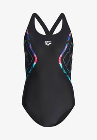 Arena - REFLECTED SIMMETRY V BACK ONE PIECE - Swimsuit - black/neon blue - 3