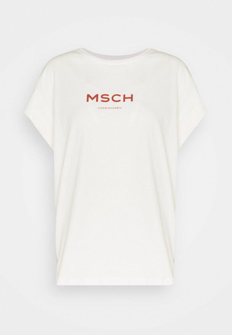 Moss Copenhagen - NANETTE ALVA LOGO TEE - Print T-shirt - egret/barn red