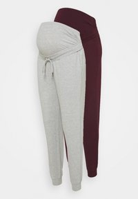 Anna Field MAMA - 2 PACK - Tracksuit bottoms - light grey/bordeaux - 0