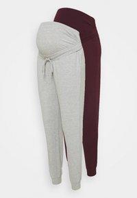 Anna Field MAMA - 2 PACK - Pantalones deportivos - light grey/bordeaux - 0