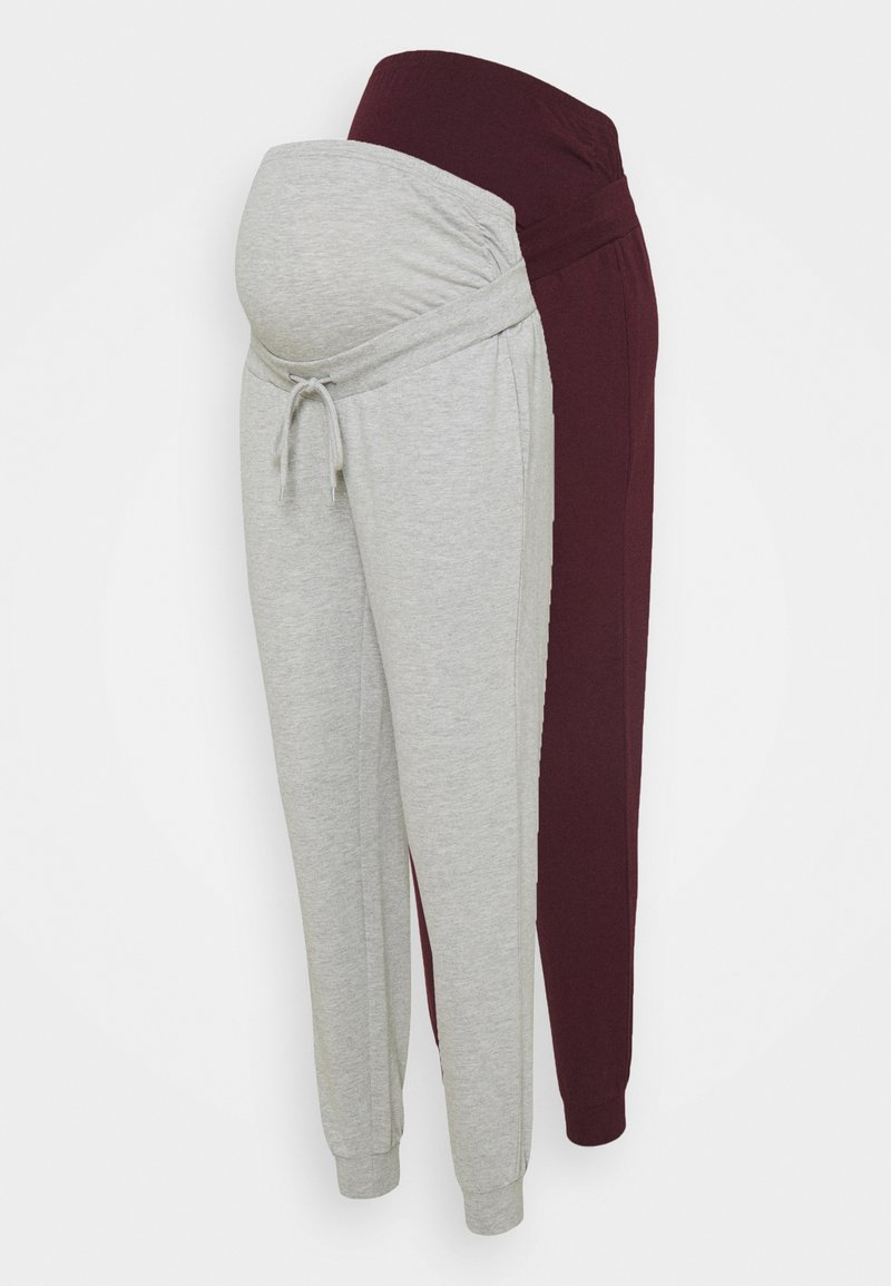Anna Field MAMA - 2 PACK - Tracksuit bottoms - light grey/bordeaux