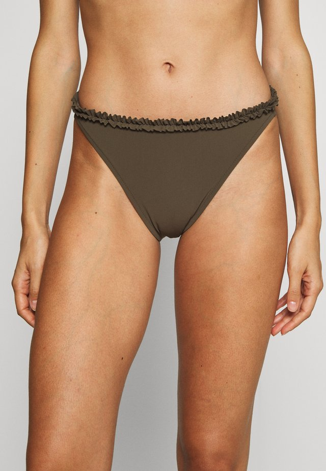FRILL HIGH CUT BRIEF - Bikini bottoms - olive