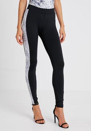 LADIES SIDE PATTERN - Leggings - Trousers - black