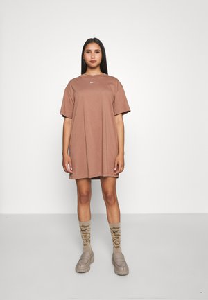 Jersey dress - archaeo brown/white